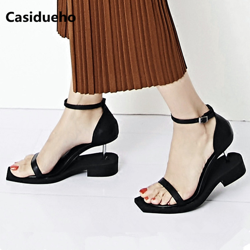 Metal Heels Wedges Leather Gladiator Sandals Black Strap Shoes Woman Summer Zapatos Mujer Brand Sexy Sandalias Platform Shoes 40 цена