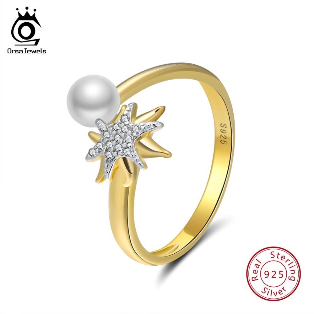 Ringe Wostu Neue Ankunft 925 Sterling Silber Fantasie Starfish Hochzeit Band-finger-ring Frauen Sterling-silber-schmuck S925 Cqr202