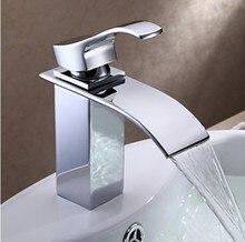 Хромированная Отделка Водопад Ванной Смеситель Одной Ручкой Кран Раковины