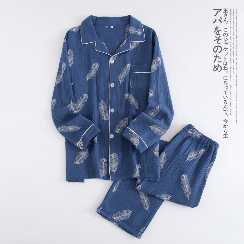 New Autumn Men's Crepe 100% Cotton Gauze Suit Long Sleeves Trousers Mens   Pajama     Set   Men Sleepwear Cartoon Nightwear 2 Piece   Set
