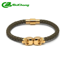 Fashion 6mm width Army Green Nappa Leather Gold  Stainless Steel Twin North Skull Northskull Bracelet Bangle for Gift Watch