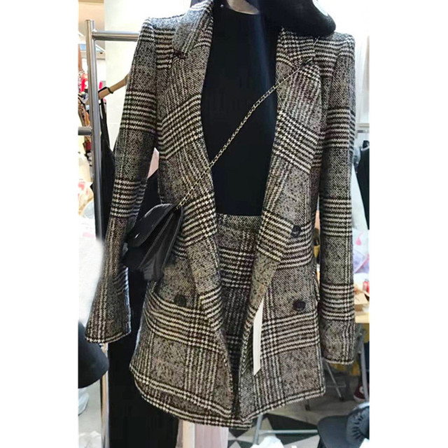Korean Women S Suit Classic Plaid Wool Suit Jacket Skirt 2 Pieces