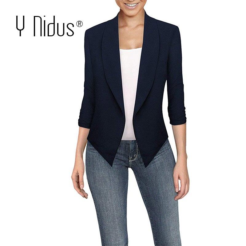 Y Nidus Women's White Blazer 2019 Summer Autumn Sheer Chiffon Casual Work Office Open Front Jacket Plus Size Blazer Femme 5XL