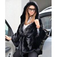 Женское пальто с капюшоном 2018 зимнее модное тонкое пончо из натурального кроличьего меха женская куртка мандарина из натуральной кожи 12,11
