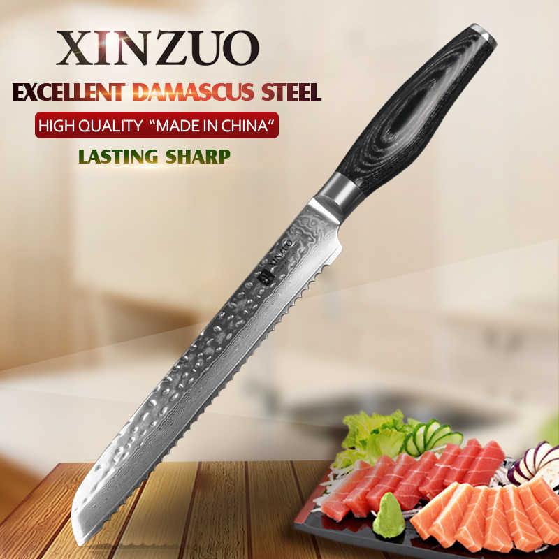 "XINZUO 8"" inch Serrated Knife Japanese VG10 Damascus Steel Super Sharp Kitchen Bread Knife Steel Cooking Tools Pakkawood Handle"