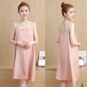 Image 4 - 2PC Sets Lace Maternity Slip Dresses For Pregnant Women Clothes Pregnancy Sling Dress Suits Maternity Vestidos Pregnant Dress