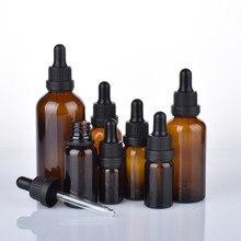 10 sztuk/partia 5ml 10ml 15ml 20ml 30ml 50ml 100ml butelka ze szkła bursztynowego z zakraplaczem matowe czarne szklane butelki z zakraplaczem