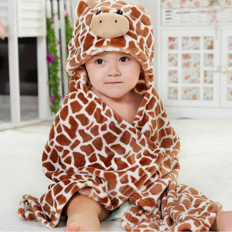 Flannels Designs Hooded Animal modeling Baby Bathrobe Cartoon Baby Towel Kids bath robe infant beach towels