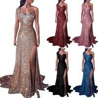 28975712202118 ... Jurk Vrouwelijke Split Lange Maxi party Dress. US  22.59. Plus Size S  5XL Women S Sexy Off One Shoulder Gold Stamp Floor Length Dress Female