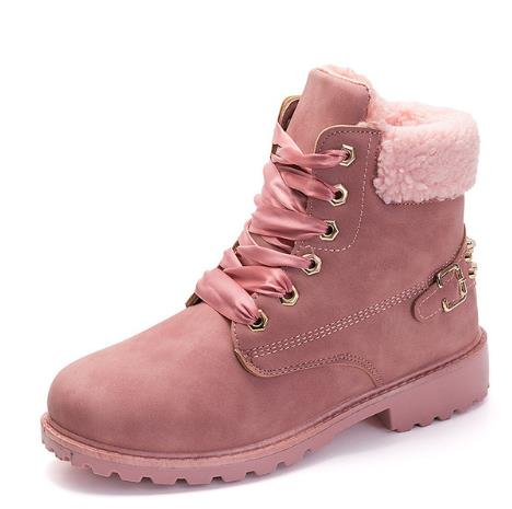 6390d019670ce Fujin New Pink Women Boots Lace up Solid Casual Ankle Boots Booties Round  Toe Women Shoes