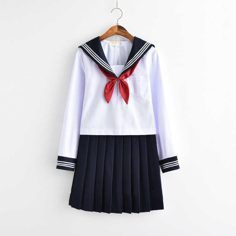 Wit Schoolmeisje Uniform Japanse Klasse Navy Sailor School Uniformen Studenten Kleding Voor Meisjes Anime Cos Sailor Marine Pak