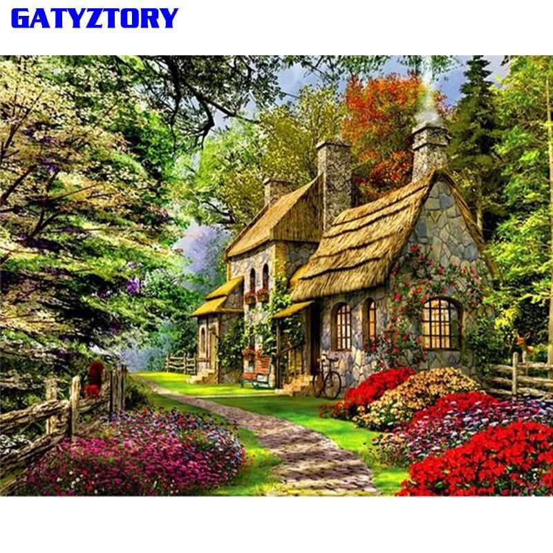 GATYZTORY Grün Haus DIY Gemälde Von Nummer Landschaft Moderne Wandkunst Bild Kalligraphie Malerei Acryl Malen Kunst