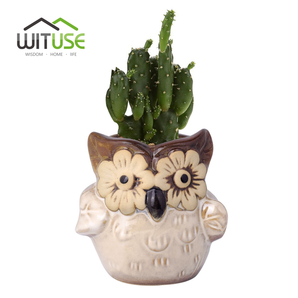 Wituse ceramic flower pot mini 6 colors owl clay garden for 6 ceramic flower pots