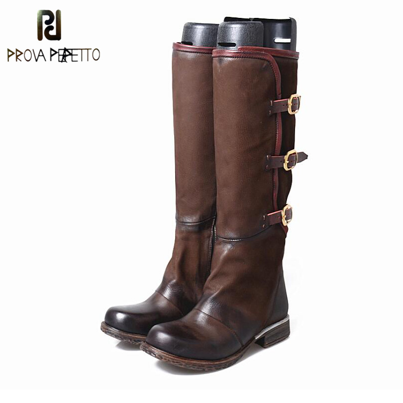Prova Perfetto Autumn Winter Do Old Genuine Leather Knee High Boots High Quality Wipe Color Square