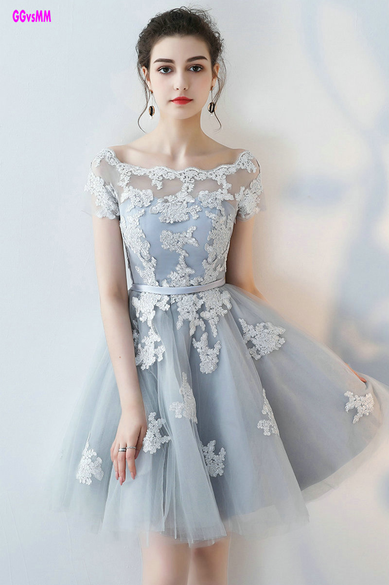 Sexy Silver Cocktail Dresses 2018 New Scoop Tulle Appliques Lace Up Knee Lingth Prom Dress Short