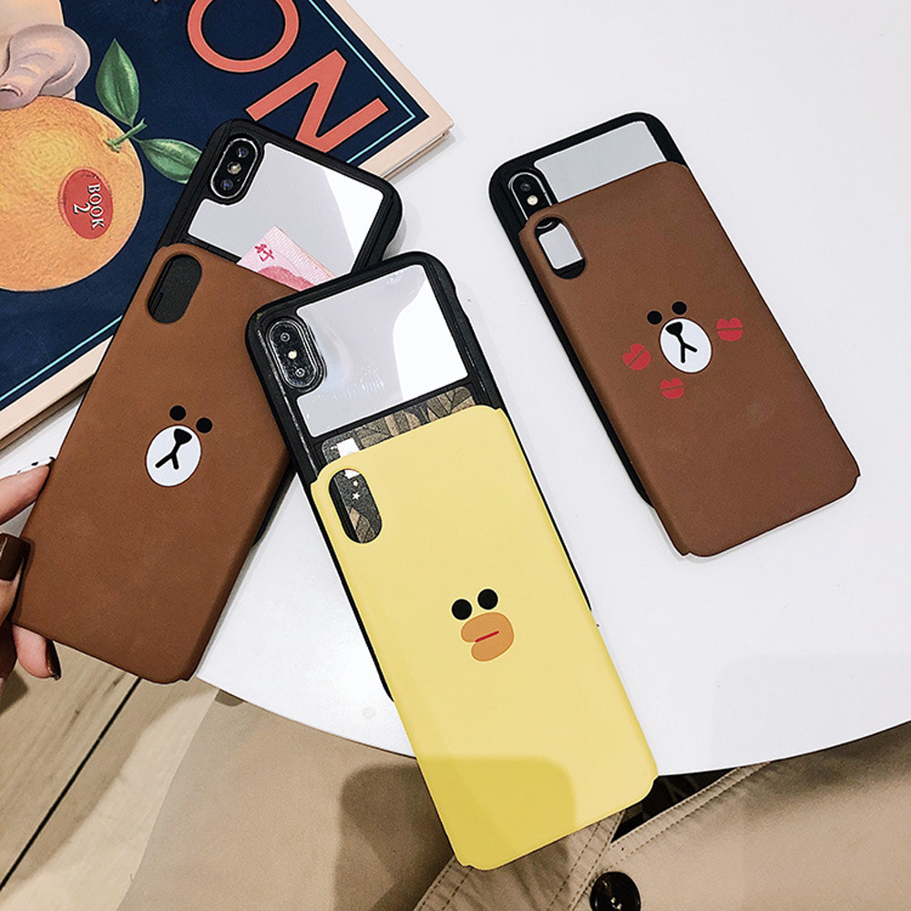 Slide-Phone-Cases-For-iPhone-6-6s-Plus-7-8-X-Xs-Brown-Bear-Make-Up-Mirror-Card-Slot-Silicone-Shockproof-Cute-Cartoon-Covers-SJ15- (12)