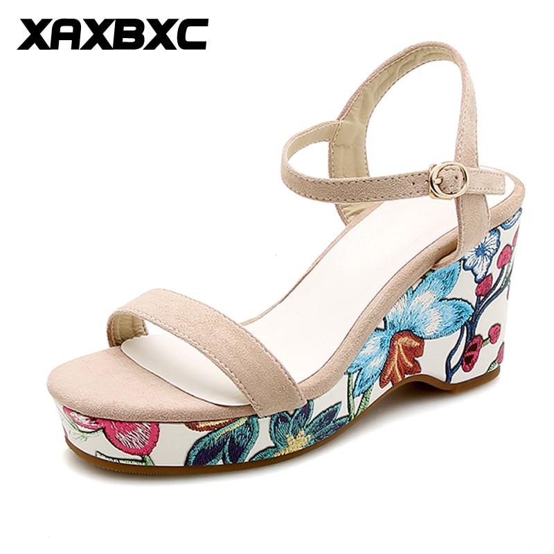 XAXBXC 2018 Jauns vasaras izšūšanas ziedu platformas ķīļi - Sieviešu apavi
