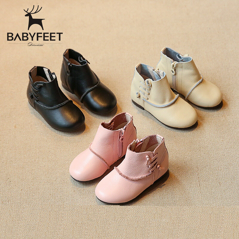 Babyfeet baby booties Genuine leather girl boots children princess shoes kids fashion 1-3Y girls children casual leather shoes