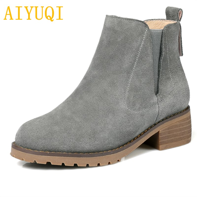 AIYUQI 2018 new genuine leather women ankle boots plus velvet warm winter boots fashion martin boots women plus size 41#42#43# aiyuqi 2018 spring new women s genuine leather shoes waterproof platform sexy plus size 41 42 43 fashion heel shoes female