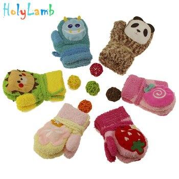 New Winter Newborn Thicken Warm Fleece Mittens Cute Cartoon Animal Baby Boy Girl Gloves Velvet Cotton Kids Childrens gloves
