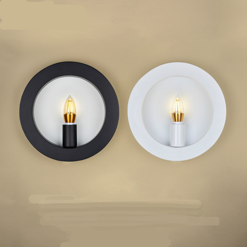 New Retro Creative Simple Nordic Round Led E27 Wall Lamp For Living Room Bedroom Aisle Bedside Corridor Stair Lamp Deco 1927 брюки женские oodji ultra цвет синий 11702067 33574 7500n размер 34 40 170