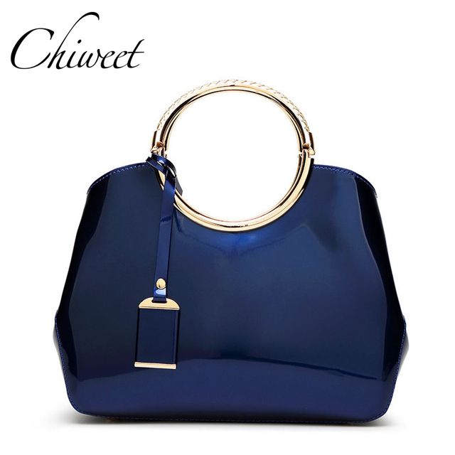 Luxury 2017 Designer Totes Women Patent Leather Handbags Classic Circle Ring Messenger Bags Large Shoulder Jelly