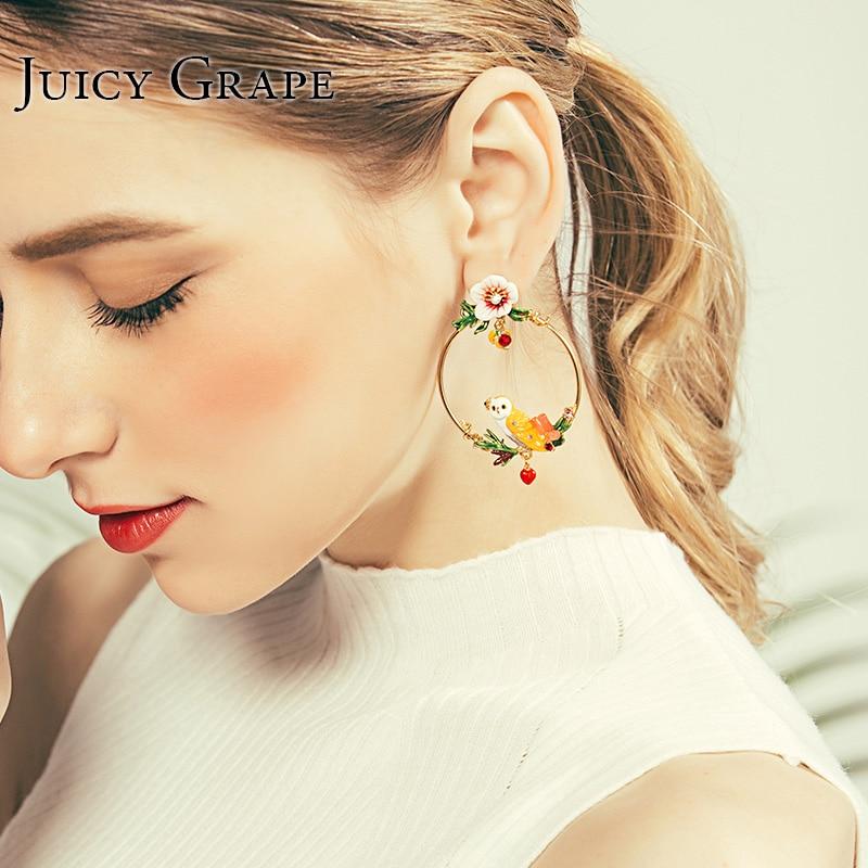 Juicy Grape French New Enamel Glazed Snow Lord Owl Series Zircon Stud Earrings 925 Silver Needle