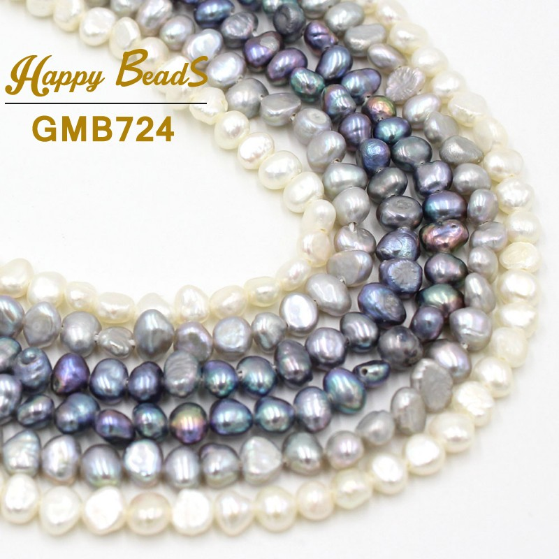 """3-5mm Irregular White Grey Black Natural Freshwater Pearl Loose Beads For Jewelry Making DIY Bracelet Necklace 15""""Strand/Inches"""