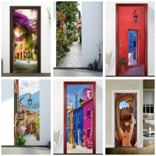 Europe Town DIY 3d Wall Door Stickers For Kids Rooms Bedroom Wall Door Sticker Home Decor Living Room