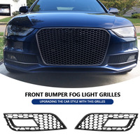 2 pcs Style Glossy Black Front Bumper Fog Light Grilles for Audi A4 RS4 2013 2016 Car accessories Front Bumper Fog Light New