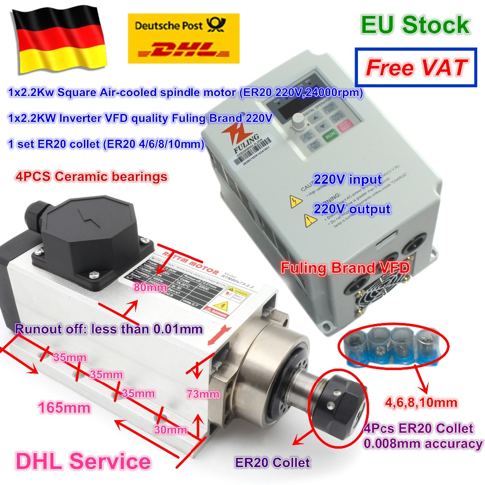 Square 2.2kw Air-cooled CNC spindle motor 220V 24000rpm ER20 4Ceramic bearing & Fuling VFD Inverter 220V & ER20 Quality colletSquare 2.2kw Air-cooled CNC spindle motor 220V 24000rpm ER20 4Ceramic bearing & Fuling VFD Inverter 220V & ER20 Quality collet