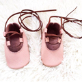 Handmade Pink Baby Cross-tied Moccasins Cow Leather Baby Shoe