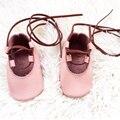 Hecho a mano de Color Rosa Bebé tied-Cross Mocasines Vaca Zapatos De Cuero Del Bebé