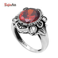 Free Shipping Fine Ring Bohemian 925 Sterling Silver Garnet Ring 925 Sterling Silver Engagement Rings For