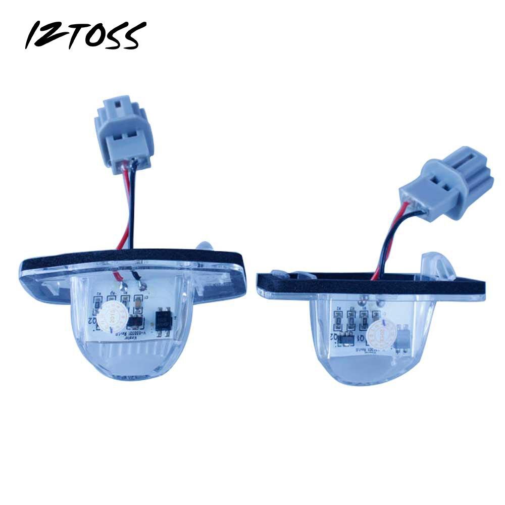 IZTOSS 2PCS LED License plate Lamp 18 SMD 3528 for HONDA JAZZ(Fit) Odyssey CRV FRV LED License plate Light