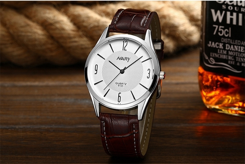 Nary Brand Exquisite Men Fashion Leather Watches Men s Movement Quartz Watch Waterproof Erkek Kol Saati