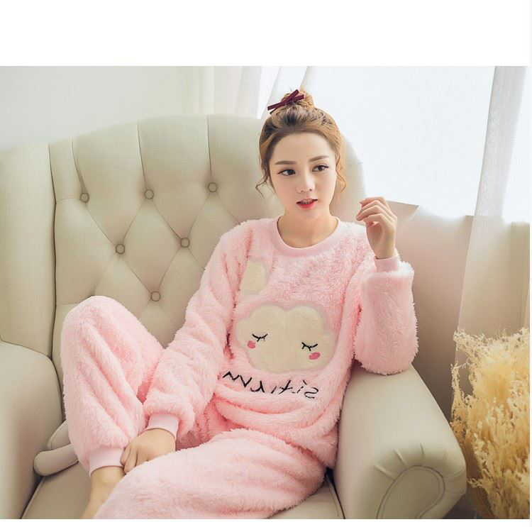 Autumn Winter Women   Pajamas     Set   2017 Women   Pajamas   Pant Sleepwear Warm Nightgown Sleepwear Flannel &Cotton Blended Female   Pajama