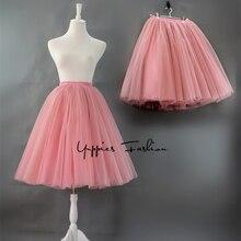 Quality 7 Layers 65cm Maxi Long Tulle Skirt Elegant Pleated TUTU Skirts Womens Vintage Lolita Petticoat faldas mujer saia Jupe