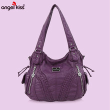 Angelkiss Women Purses and Handbags Washed Pu Lether Large S