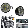 Harley led headlight 5-1/2'' Inch Motorcycle High Low Beam with Angel eyes headlight 4.5'' Dyna Fat Bob headlight for harley