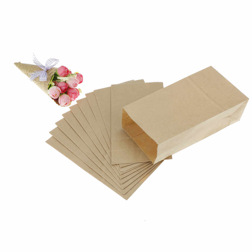 10pcs Brown Kraft Paper Bag Biscuits Packaging Wrapping Supplies for Party Wedding Favors Handmade Bread Cookies Gift