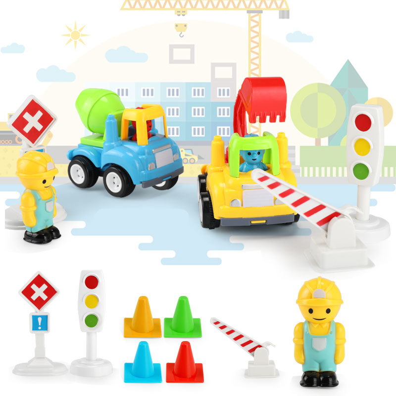 Kids Cars Toys Set Inertia Pull Back Engineering Car Model Children Tractor Construction Vehicles Toy For Boys Birthday Gifts