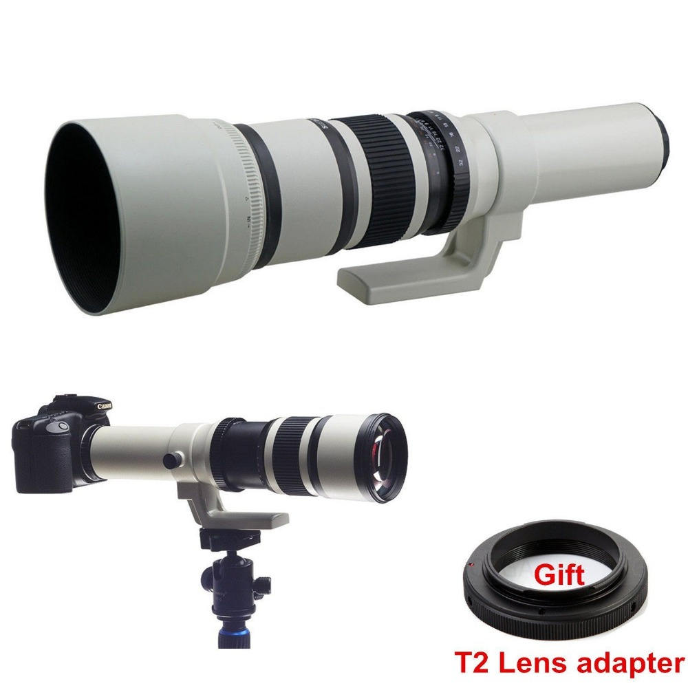 500mm f/6.3 Telephoto Fixed Prime Lens + Free T2 Mount Adapter for Canon Nikon Sony Olympus Pentax Camera DSLR 650 1300mm f8 f16 telescope telephoto zoom lens with t mount adapter for canon nikon alpha pentax olympus nex eosm m43 fx camera
