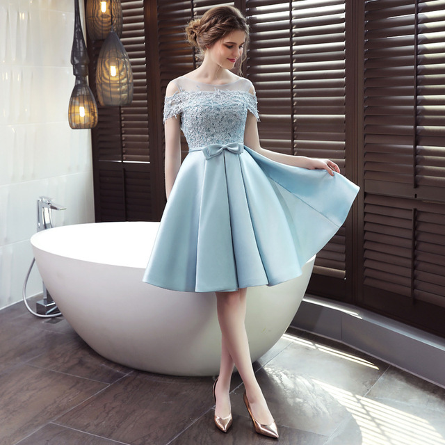 LAMYA 2019 New Short Sation Prom Dress Simple Lace Boat Neck Formal Evening Party Dresses Custiom Size Vestido de Festa Curto 3