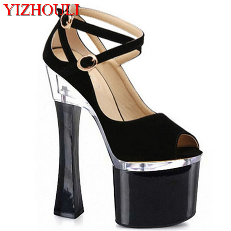 7 inch spool peep toe fashion shoes star performance shoes 18 high thick heel sandals sexy clubbing party shoes