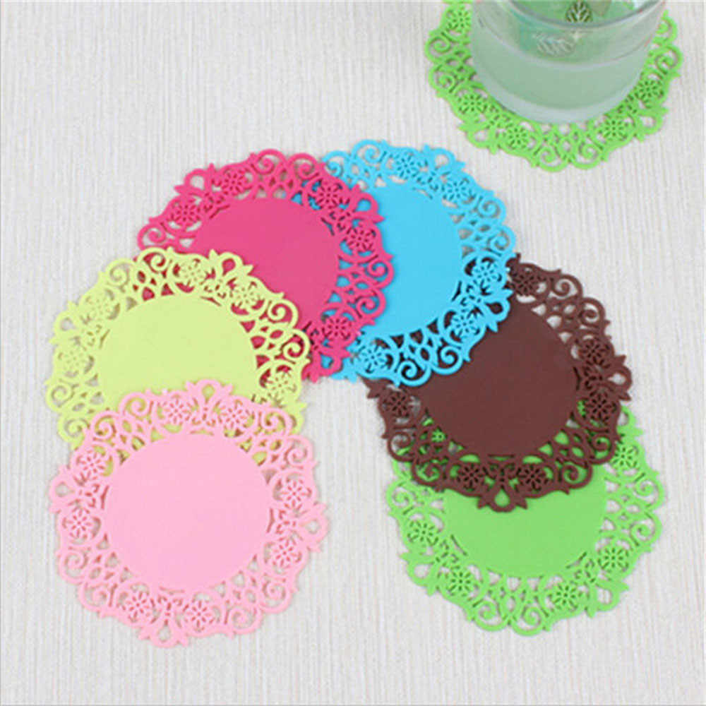 Lace Flower  Hot Coaster Fruit Shape Silicone Cup Pad Slip Insulation Pad Cup Mat Pad Hot Drink Holder #F