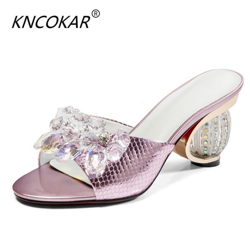 KNCOKAR2018 Half drag crystal shoe summer new water drill a word drag real leather inside tall and cool slippers fish mouth thicKNCOKAR2018 Half drag crystal shoe summer new water drill a word drag real leather inside tall and cool slippers fish mouth thic