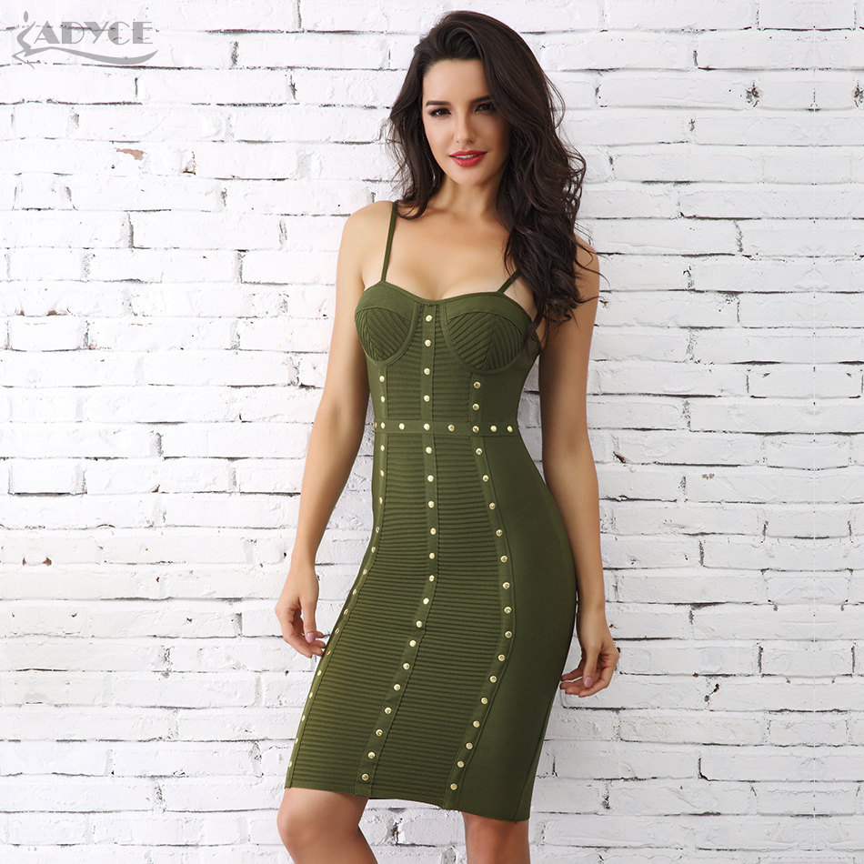 Adyce 2019 Summer Women Bandage Dress Green White Button Studded Mini Bodycon Runway Club Dress Celebrity