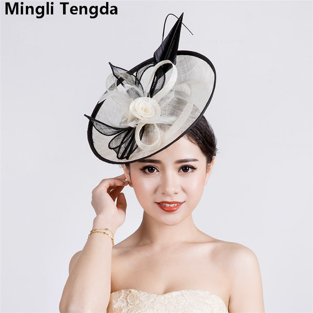 2018 New Vintage Linen Bride Hat Wedding Hats and Fascinators Bridal Hats  for Women Elegant Bridal Accessories chapeau mariage 4bfc26348a2