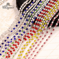Pearl Rhinestones Crystals Strass Termoadhesivos Glass Rhinestones Sewing On Cup Chain Trim For Wedding Dress